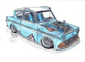 Ford Anglia 105E Art Trade by Mister-Lou