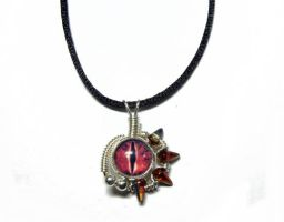 Wire Wrap Red Evil Dragon Eye Pendant by Create-A-Pendant