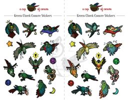 STICKERS: Green Cheek Conures by Brushfeather