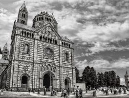 The Cathedral to Speyer in black and white by pingallery