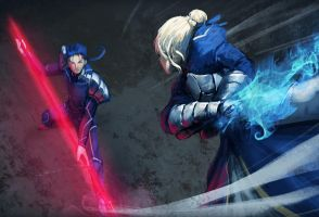 Saber vs Lancer by rouzato