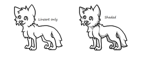 Free Wolf Pup Lineart - MS Paint by Twine-Adopts
