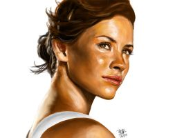 iPad finger painting of Evangeline Lilly by chaseroflight