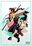 Cloud, Aeris and Tifa by H0lyhandgrenade