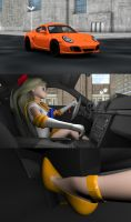 Sailor Venus driving the Cayman by Mikey186