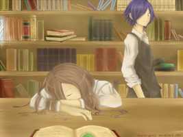 Glances ... In the hazy library . by ShionXeriawind
