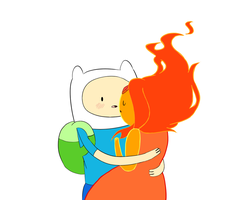Adventuretime Finn and Flame Princess by cloudyshin