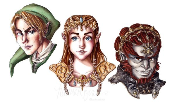 Legend of Zelda portraits by hannahbird