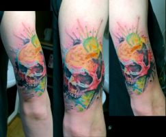 watercolor skull by karlinoboy