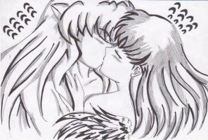 ++INUYASHAXKAGOME KISS++ by ladybluematrix