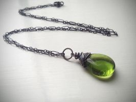 Olive Green Pressed Czech Glass Necklace by QuintessentialArts