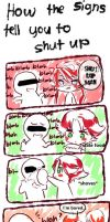 how the signs tell you to shut up by temiji