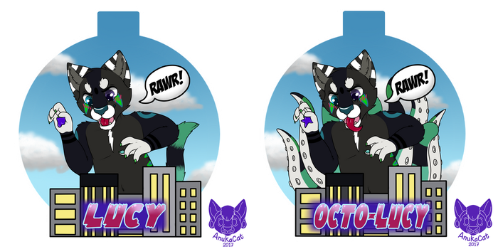 .: Macro Lucy Double-Sided Badge :. by AnukaCat