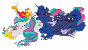 Celestia and Luna sleeping by Brunursus