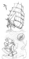 Rime of the Ancient Mariner tattoo lineart by lapis-lazuri