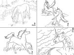 four horse linearts by meihua