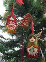 Embroidered Felt Russian Doles Xmas Decorations 3 by KymeraKirsty