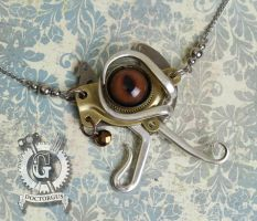 Steampunk Eye of Horus Fork Necklace by Doctor-Gus