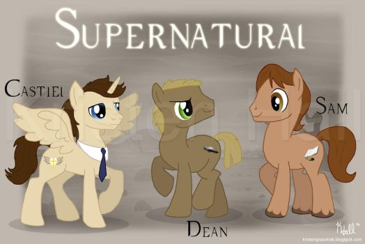 Supernatural Ponies: Dean, Sam, and Castiel by Unicornarama