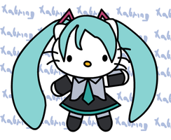 Hello Kitty in Miku Hatsume costume by Xabring