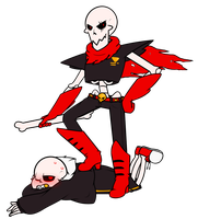 Underfell Sans and Papyrus by Awkward-Octopus1