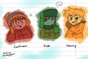 Cartman, Kyle, Kenny by 1GreenHills1