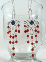 Natural rubies and grey tourmaline Earrings by Lincey