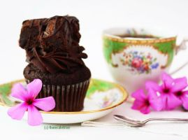 Chocolate Fudge Brownie Cupcake by theresahelmer