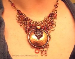 Copper Medallion Chainmail Necklace (2) by ulfchild