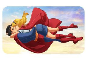 Supergirl Family 8 - Supergirl Superman Kiss by kclcmdr