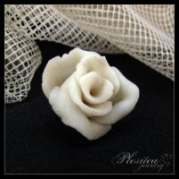 Fimo - White rose by PLESITEArt