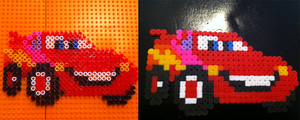 lightning mcqueen - perler by dishbitch