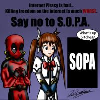 Deadpool and Nanoha_Say no to SOPA by Evil-Rick