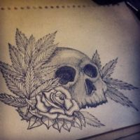 Tattoo Design-Skull and rose. by JackeryNorthall