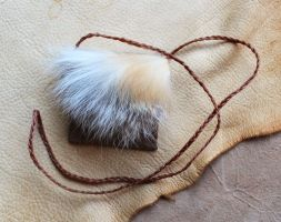 Leather and red fox fur pouch by lupagreenwolf