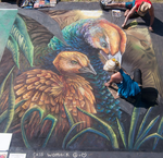 Mother Peahen and Peachick Chalk Art 1 by charfade