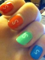 Skittle nails by JennyBean4u
