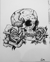 Skull and Roses by WarriorWildfur