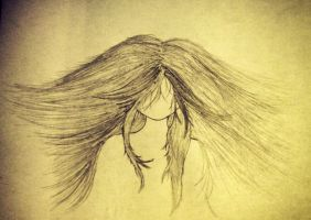 Wind through a Faceless girls hair by Hoovedstorys