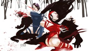 Wrath of Psylocke and Elektra by daguillo84