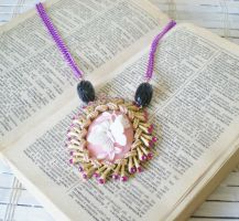 Pin Butterfly Cameo Necklace by RetroRevivalBoutique
