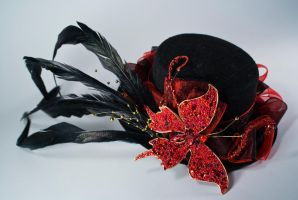 Dark Butterfly Mini top hat by Lastwear