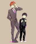 Mob and Reigen by crowladee