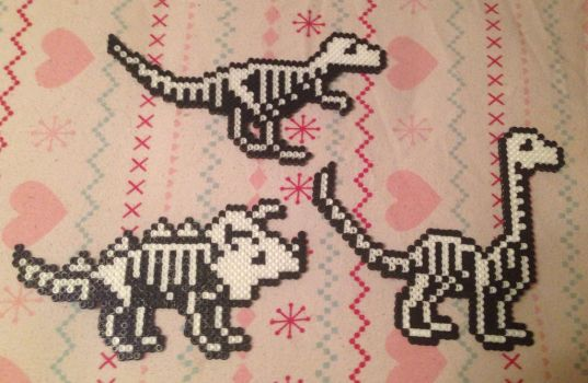 Dinosaur Skeleton Perler Bead Art by MyKatFluffy