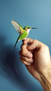 Paper and wood hummingbird is finished! by ZackMclaughlin