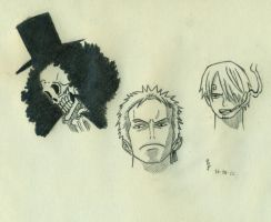 Brook, Zoro and Sanji by Falenis