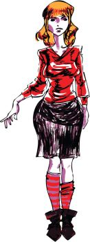 red top black skirt by Tchetchene