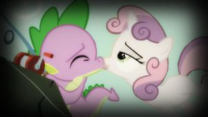 Sweetie Belle and Spike Kiss by DrakkenlovesShego12