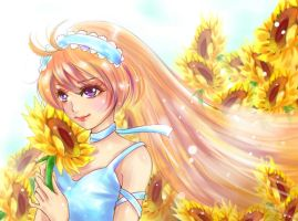 Me and my sunflowers drawing by tursiops33