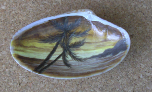 Sunset...painted in seashell by Arteestique